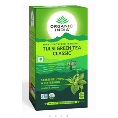 Lot of 4 Organic India Tulsi Green Tea Classic 100 Tea Bags Natural Basil Herbs