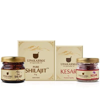 Ayurveda Natural Pure 15gm Shilajit Shilajeet Resin + 1 gm Kashmir Kesar Saffron