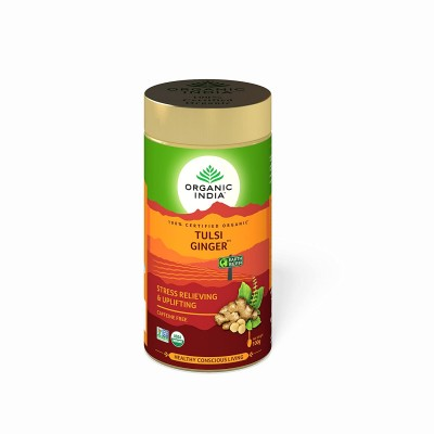 Lot of 2 Organic India Tulsi Ginger 200 Grams Tin Pack Ayurvedic Natural stress
