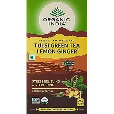 Lot of 4 Organic India Tulsi Green Tea Lemon Ginger 100 Tea Bag Ayurvedic Health