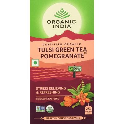 Lot of 4 Organic India Tulsi Green Tea Pomegranate 100 Tea Bag ayurvedic natural