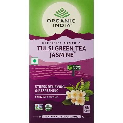 Lot of 4 Organic India Tulsi Green Tea Jasmine 100 Tea Bags Ayurvedic Natural