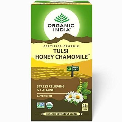 Lot of 4 Organic India Tulsi Honey Chamomile 100 Tea Bags Ayurvedic Natural Care