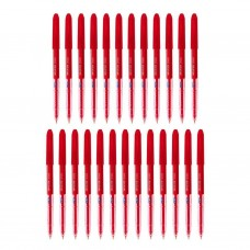 Pack of 25 Linc Faster Ball Pens RED INK 0.7MM fine tip school office stationary