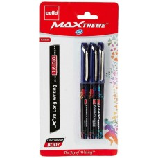 Pack of 3 Blue Ink Bliste Cello Maxtreme Gel Pen Student School Office Work Gift