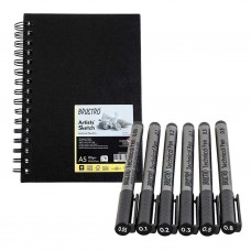 Pack of 6 Brustro Technical Pens Assorted with Artist Sketch Book Art Craft Gift