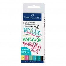 Pack of 6 Faber Castell Hand Lettering Pitt Artist Pens Set Assorted colors nibs