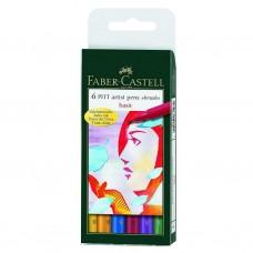 Pack of 6 Faber Castell Pitt Artist Assorted Basic Color Pens Set Art Craft Work