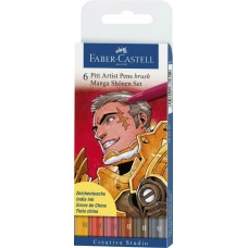 Pack of 6 Faber-Castell Pitt Artist B Pen Set Assorted colors & nibs art craft