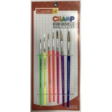Pack of 7 Pcs Camlin Champ Round Brush Set Assorted colors art craft school gift