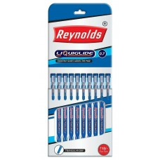 Reynolds Liquiglide 0.7 Ball Pens, Blue Ink - [Pack of 10]