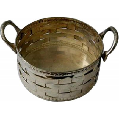 Small Brass basket multipurpose use India Handicraft Table Home Kitchen Decor