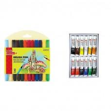 Camlin Kokuyo Brush Pen 12 Shades Assorted Colors + 12 Camel 5 ML Water colors