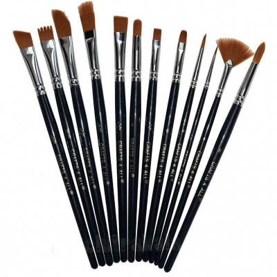 Chitrakala Paint Brushes 12 Set Professional Paint Brush Round Pointed Tip Nylon