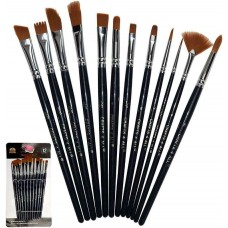KANO Painting Brushes Set of 12 Professional Round Pointed Tip Nylon Hair Artist