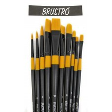 Lot of 10 Brushes Brustro Artists Gold TAKLON Acrylics Oil Water Color Art Craft