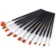 Lot of 12 Multiple size type Paint Brush Round Pointed Tip Nylon Hair Art Craft