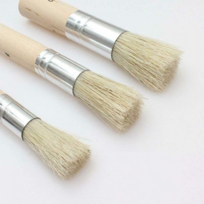 Lot of 3 Pcs Stencil Brushes Set Art Crafts Paint Brush Pure Natural Artist Gift