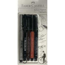 Lot of 5 Faber Castell PITT ARTIST PENS (0.05, C, SB, B, B) sketch art drawing