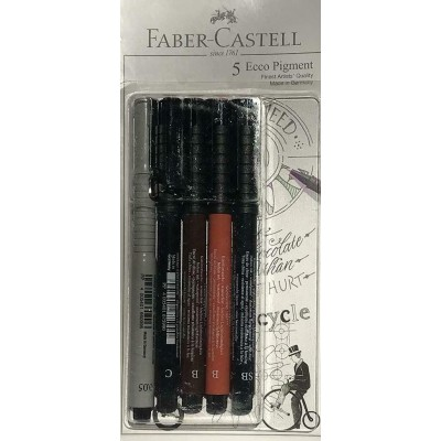 Lot of 5 Faber Castell PITT ARTIST PENS (0.05, C, SB, B, B) sketch art drawing