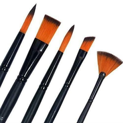 Lot of 5 Pcs Short Black Handle Synthetic Mix Artist Paint Brush Set School Gift