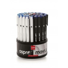Lot of 50 Cello Aspro Mavro Ball Pens & Stand Assorted ink 0.7 mm Blue Black