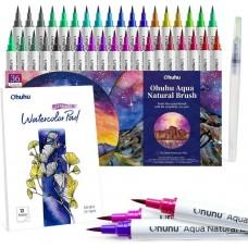 Ohuhu Brush Pens Watercolor 36 Colors Water-based Paint Markers Pens