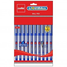 Pack of 10 Cello Liquiball Ball Pens BLUE INK 1 MM Tip for thick bold writing