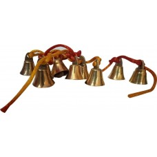 12 SMALL SIZE 100% BRASS BELLS & STRING WALL MIRROR DOOR TREE HOME DECORATION