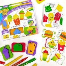 Creative Learning Knowledge Set Stamp Art Food DIY Kids Art Set  3+ Years Gift