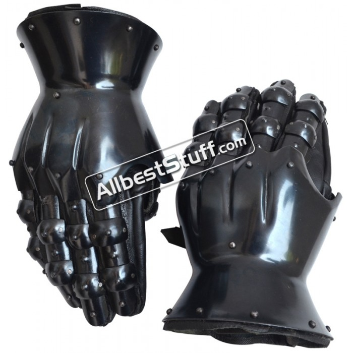 16 Gauge Medieval Knight Crusader 14th Century Gauntlets Gothic Black