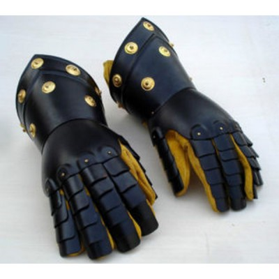 Medieval Gothic Gauntlets with Brass Accents Black