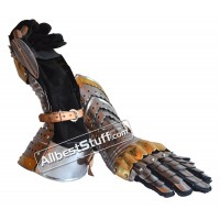 Medieval Articulated Gauntlets with Brass Accents