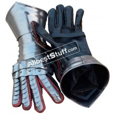 Medieval Articulated Gauntlets with Leather Gloves