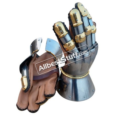 SALE! Medieval Functional 16 G Steel Princely Hourglass Gauntlets Leather Glove SCA