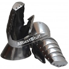 Medieval Heavy 16 Gauge Steel Mitten with Leather Gloves