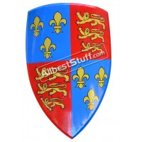 Medieval Shield Steel Painted Red and Blue