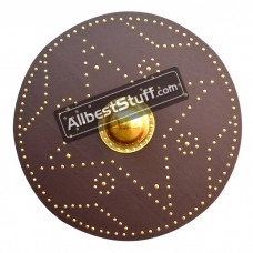 Round Plywood Wooden Shield Brown with Leather