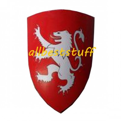 Wooden Armour Crusader Shield 13th cent., Red Painted Dragon