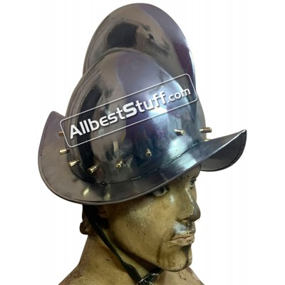 German Morion Landsknecht Helmet 18 Gauge Steel Brass Studd