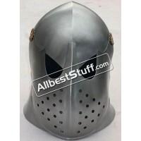 Medieval 16 Gauge Steel European Barbute with Visor