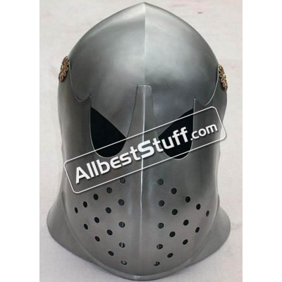 Medieval 16 Gauge Steel European Barbute with Visor