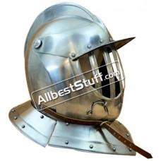 Medieval 17th Century Closed Burgonet 16 Gauge Steel Helmet