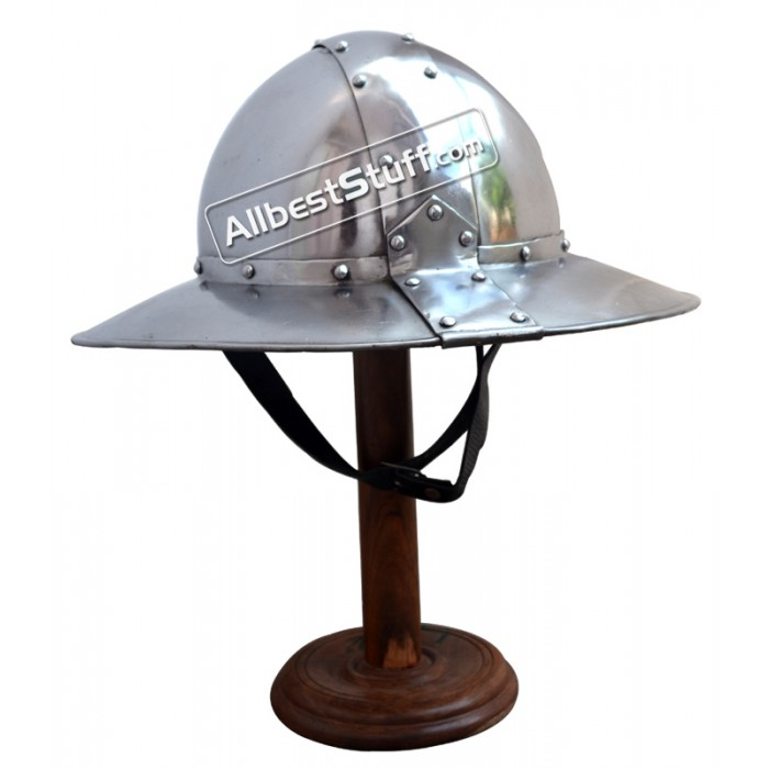 Medieval Banded Kettle Hat 1,6mm Steel Helmet with Leather liner