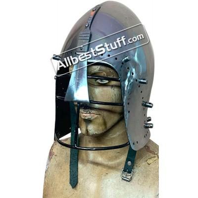 SALE! Medieval Bascinet Buhurt Helmet made in 14 Gauge Steel