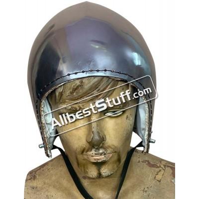 Medieval Bascinet Helmet Without Visor made from 14 Gauge Steel