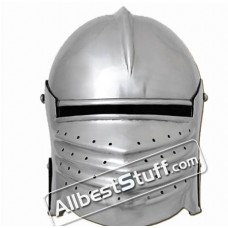 Medieval Bellows Face Sallet Helmet of 1490 AD made in 14 Gauge Steel