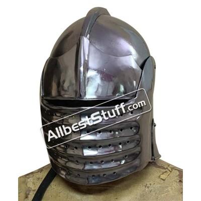 Medieval Bellows Face Sallet Helmet of 1490 AD made in 14 Gauge Steel