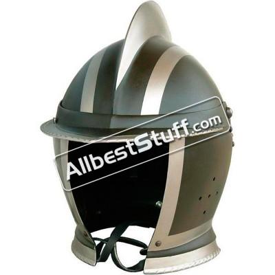 Medieval Burgonet Black closed Helmet 14 Gauge Steel