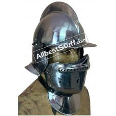 Medieval Burgonet Close Helmet 18 Gauge Steel